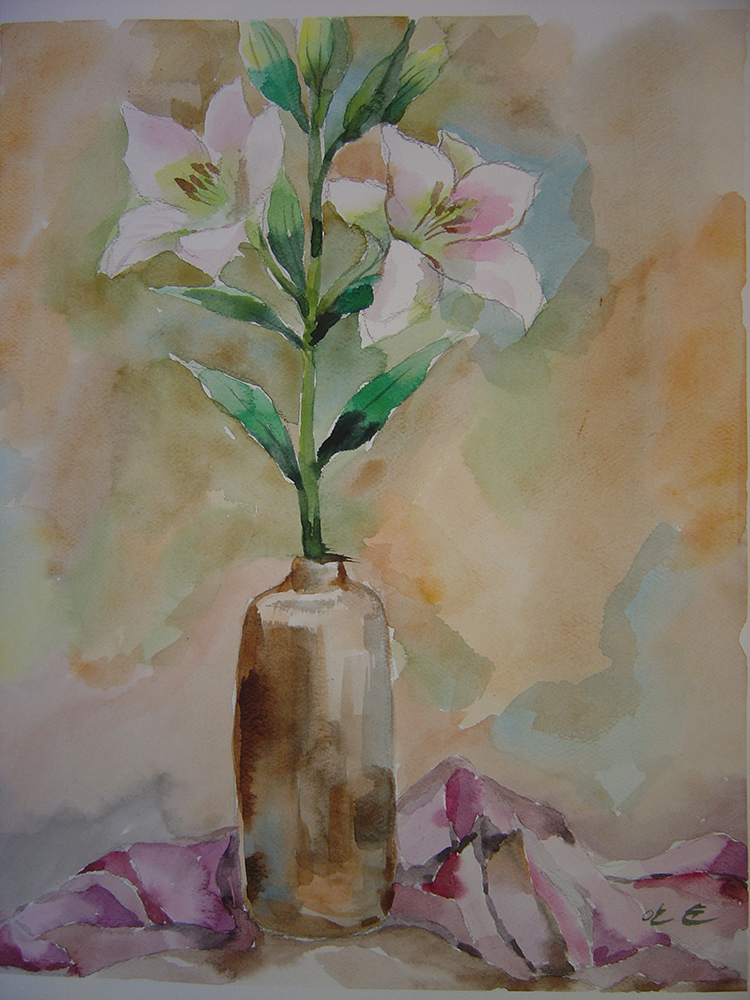 watercolour still life painted by a student